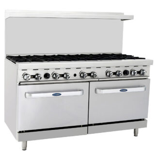 "Atosa Cook Rite 60"" Gas Range, 10 Burner, 2 Oven, NG (AGR10B)"