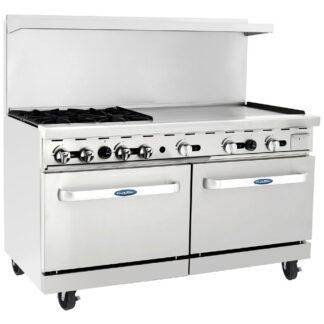 """Atosa Cook Rite 60"""" Gas Range, 4 Burner, 36"""" Griddle, 2 Oven, NG (AGR4B36GR)"""