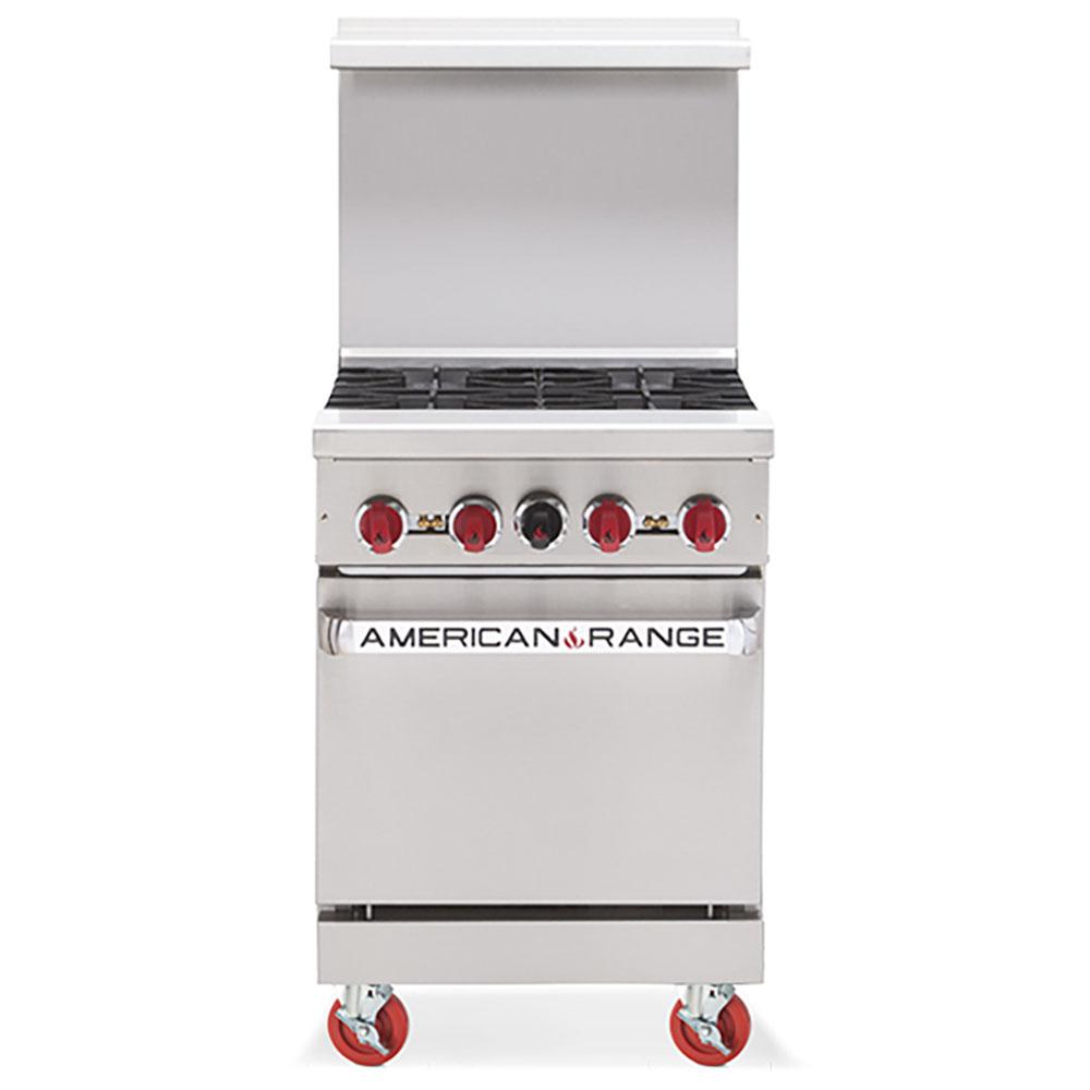 American Range Heavy Duty 24 Gas 4 Burner Range With Oven Ar4