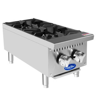 "Atosa Heavy-Duty 12"" 2-Burner Hotplate, NG (ATHP122)"