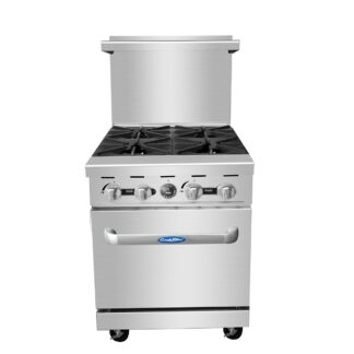 "Atosa Cook Rite 24"" Gas Range, 4 Burners, 20"" Wide Oven (AGR4B)"