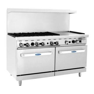 """Atosa Cook Rite 60"""" Gas Range, 6 Burner, 24"""" Griddle , 2 Oven, NG (AGR6B24GR)"""