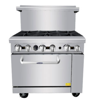 "Atosa Cook Rite 36"" Gas Range, 6 Burners, 26.5"" Wide Oven, NG (AGR6B)"