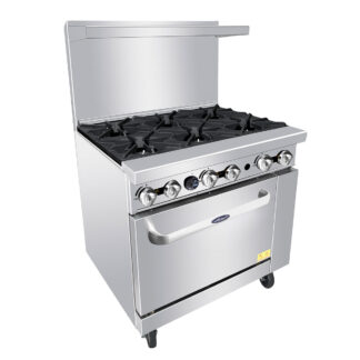 "Atosa 36"" Gas Range, 6 Burners, 26.5"" Wide Oven, NG (ATO6B)"