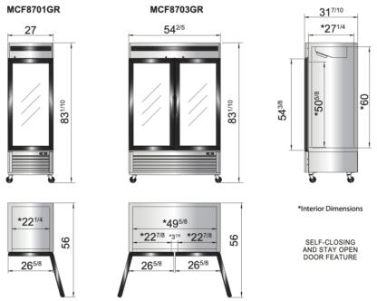 Atosa 20 cu. ft. Single Glass Door Freezer, S/S Interior & Exterior (MCF8701GR)