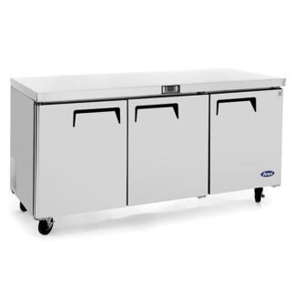 "Atosa 72"" Three Solid Door Undercounter Cooler (MGF8404GR)"