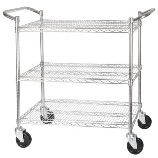 Winco 3-Tier Wire Shelving Cart, Chrome Plated, Double Handle with Brake (VCCD1836B)