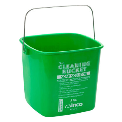 Winco 3 Qt. Green Cleaning Bucket (PPL3G)