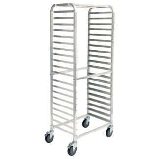 Winco 20-Tier Side-Load Sheet Pan Rack with Brakes, 3″ Spacing, Aluminum (ALRS20BK)