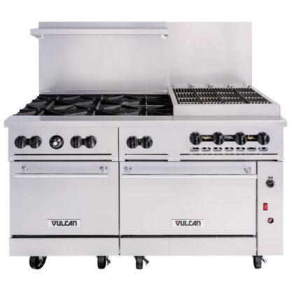 """Vulcan Endurance 60"""" Gas Range, 6-Burner, 24"""" Charbroiler, 2 Std Ovens (60SS6B24CBN)"""
