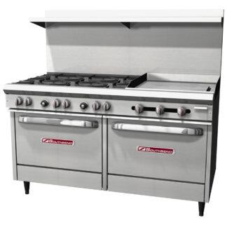 """Southbend S-Series 60"""" Range, 6-Burner, 24"""" Griddle, 2 Std Ovens (S60DD2GR)"""