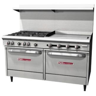 """Southbend S-Series 60"""" Range, 4-Burner, 36"""" Griddle, 2 Std Ovens (S60DD3GR)"""