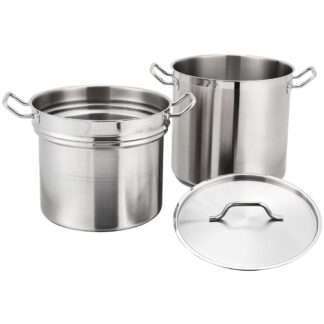 Winco 20 Qt. Stainless Steel Double Boiler with Cover (SSDB20)
