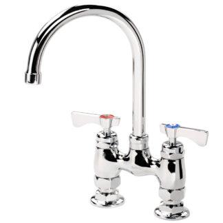 """Krowne 4"""" Raised Deck Mount Faucet with 6"""" Wide Gooseneck Spout (15401L)"""