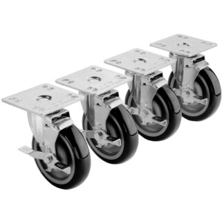 """Krowne Universal 4"""" x 4"""" Plate Caster with Side Brake, 5"""" Wheel, 6"""" Overall, Set of 4 (28107S)"""